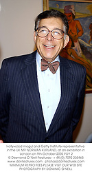 Hollywood mogul and Getty Institute representative in the UK MR NORMAN KURLAND, at an exhibition in London on 9th October 2002.PDY 2