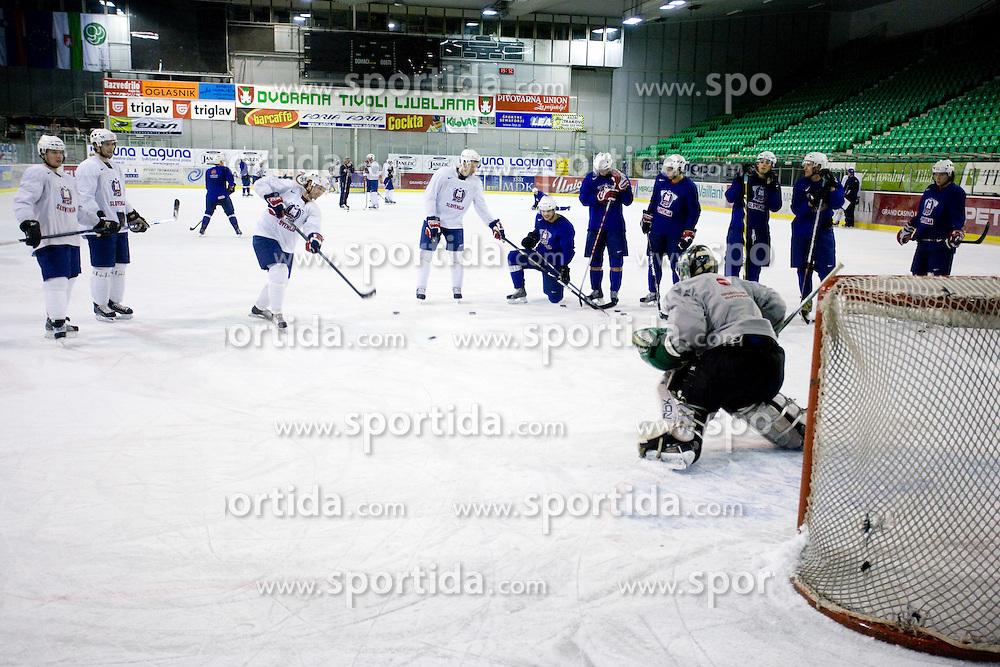 Third practice of Slovenian National Ice hockey team before World championship of Division I - group B in Ljubljana, on April 6, 2010, in Hala Tivoli, Ljubljana, Slovenia.  (Photo by Vid Ponikvar / Sportida)
