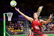 11th April 2018, Gold Coast Convention and Exhibition Centre, Gold Coast, Australia; Commonwealth Games day 7; Netball, England versus New Zealand; Chelsea Pitman of England leaps to catch a pass