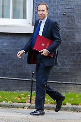 © Licensed to London News Pictures. 22/10/2019. London, UK. Secretary of State for Health and Social Care MATT HANCOCK arrives in Downing Street to attend the weekly cabinet meeting. Photo credit: Dinendra Haria/LNP