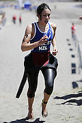 New Zealand's Andrea Hewitt heads toward the transition area after the swim leg of the ITU World Cup Triathlon Elite womens race held in New Plymouth, New Zealand on Sunday 13 November, 2005.