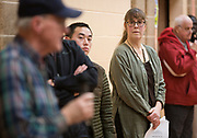 Midwest Environmental Justice Organization president Maria Powell looks on during the public listening session at the East Madison Community Center on the subject of F-35 fighter jets at Truax Field in Madison, Wisconsin, Wednesday, Feb. 28, 2018.