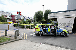 © Licensed to London News Pictures. 30/08/2019. London, UK. A crime scene on Willan Road in Tottenham, north London where a teenage boy was stabbed this morning. The victim has been taken to a hospital and according to the police he is in a critical condition. Photo credit: Dinendra Haria/LNP