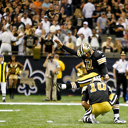 September 25, 2011; New Orleans, LA, USA; New Orleans Saints place kicker John Kasay (2) against the Houston Texans during the fourth quarter at the Louisiana Superdome. The Saints defeated the Texans 40-33. Mandatory Credit: Derick E. Hingle