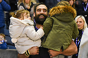 Josh Strauss with his kids after winning the 2018 Autumn Test match between Scotland and Fiji at Murrayfield, Edinburgh, Scotland on 10 November 2018.