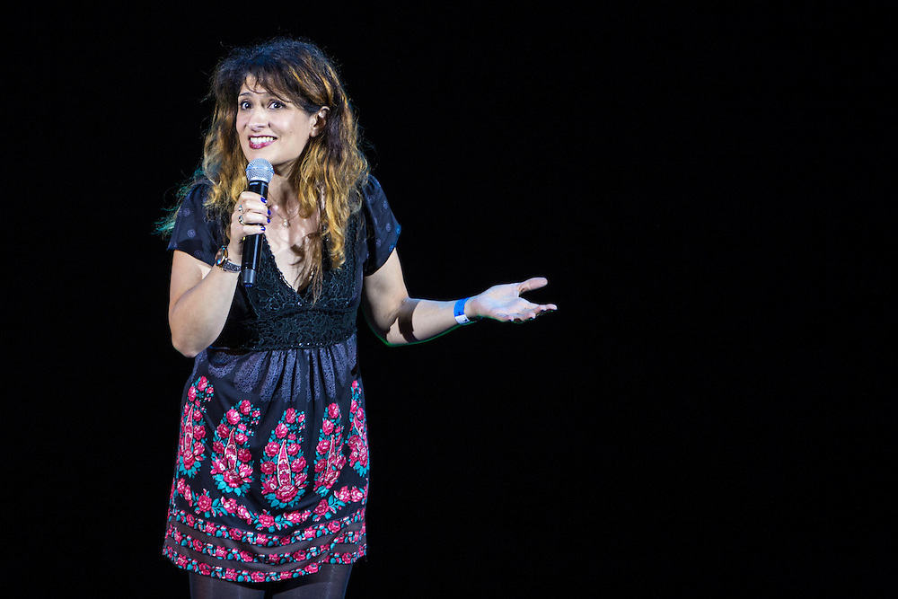 Shappi Khorsandi. The Peoples Assembly  presents: Stand Up Against Austerity. Live at the Hammersmith Apollo. London. © Andrew Aitchison / Peoples Assembly
