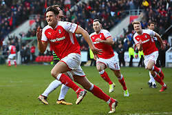 Joe Newell of Rotherham United celebrates his stoppage time winner - Mandatory by-line: Ryan Crockett/JMP - 24/02/2018 - FOOTBALL - Aesseal New York Stadium - Rotherham, England - Rotherham United v Doncaster Rovers - Sky Bet League One