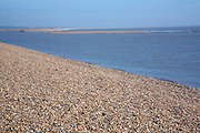 Mouth of River Ore at the tip of Orford ness spit at North Weir Point, Shingle Street, Suffolk