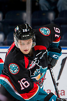 KELOWNA, CANADA - OCTOBER 13:  Michael Farren #16 of the Kelowna Rockets warms up against the Tri-City Americans on October 13, 2018 at Prospera Place in Kelowna, British Columbia, Canada.  (Photo by Marissa Baecker/Shoot the Breeze)  *** Local Caption ***
