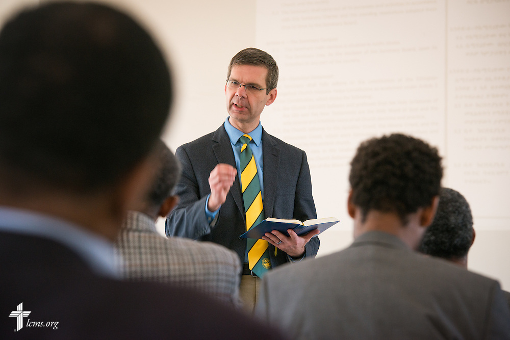 The Rev. Dr. Jeffrey Kloha, provost of Concordia Seminary, St. Louis, gives a presentation during discussions at the Mekane Yesus Seminary in Addis Ababa, Ethiopia, on Tuesday, Nov. 11, 2014. LCMS Communications/Erik M. Lunsford