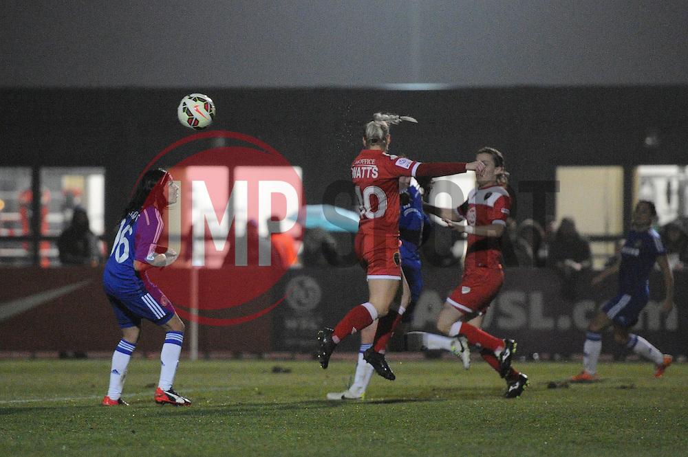 Bristol Academy Womens' Nikki Watts  takes a shot at goal. - Photo mandatory by-line: Dougie Allward/JMP - Mobile: 07966 386802 - 02/04/2015 - SPORT - Football - Bristol - SGS Wise Campus - BAWFC v Chelsea Ladies - Womens Super League