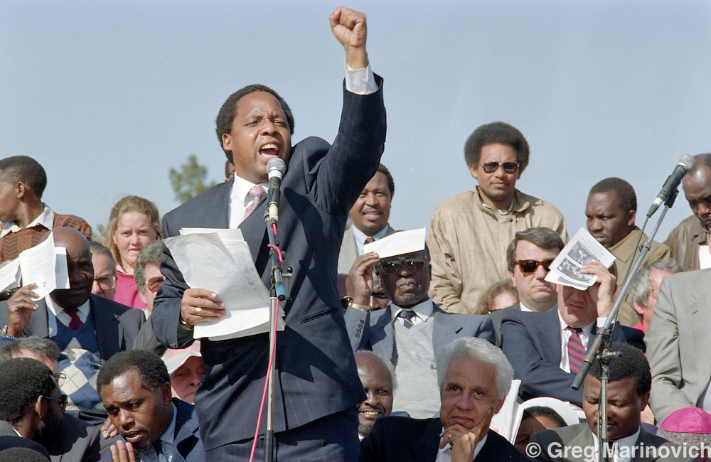 Chris Hani addreses a crowd in the months before he was assassinated by right wing extremists.