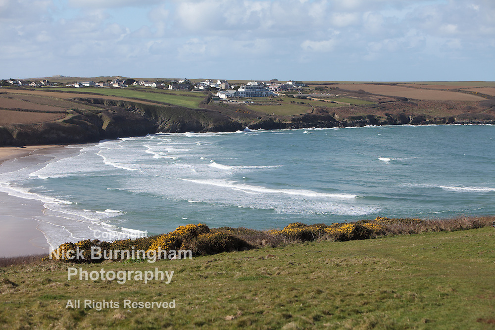 View across Crantock Beach to West Pentire, Newquay, Cornwall, UK on March 25th, 2015.