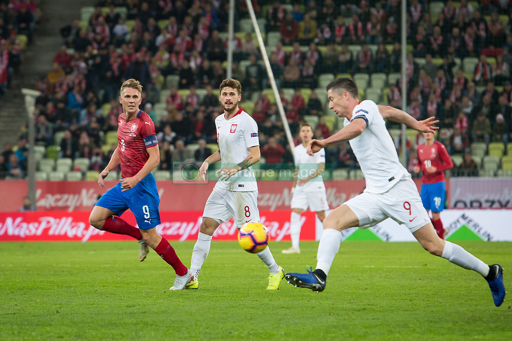 November 15, 2018 - Gdansk, Pomorze, Poland - Robert Lewandowski (9) Damian Szymanski (8) Borek Dockal (9) during the international friendly soccer match between Poland and Czech Republic at Energa Stadium in Gdansk, Poland on 15 November 2018  (Credit Image: © Mateusz Wlodarczyk/NurPhoto via ZUMA Press)