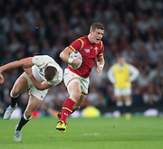 Twickenham, Great Britain,    Scott WILLIAMS, shoves of Jonny MAY'S tackle, during the Pool A Game, England vs Wales.  2015 Rugby World Cup, Venue, The RFU Stadium, Twickenham, Surrey, ENGLAND. Saturday   26/09/2015  [Mandatory Credit; Peter Spurrier/Intersport-images]