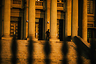 A soldier stands guard outside the Presidential Secretariat Office in downtown Colombo, Sri Lanka, Asia