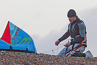 Chris Burns, Kitesurfer and Rugby Player at Tide Mills, East Sussex on one cold and very gusty Sunday morning at the end of 2012