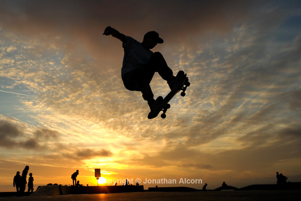 A skateboarder catches air at the Venice Beach Skate Park
