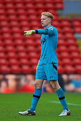 LIVERPOOL, ENGLAND - Sunday, February 5, 2017: Tottenham Hotspur's goalkeeper Tom Glover in action against Liverpool during FA Premier League 2 Division 1 Under-23 match at Anfield. (Pic by David Rawcliffe/Propaganda)