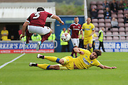 AFC Wimbledon midfielder Chris Whelpdale (11) and Northampton Town defender David Buchanan (3) in action during the EFL Sky Bet League 1 match between Northampton Town and AFC Wimbledon at Sixfields Stadium, Northampton, England on 20 August 2016. Photo by Stuart Butcher.