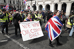 © Licensed to London News Pictures. 13/04/2019. London, UK. 'Yellow Vest' demonstrators and other supporters of Brexit block Parliament Square in protest at an extension to the UK's withdrawal from the EU. Earlier this week the EU granted British Prime Minster Theresa May an extension to the planned date the UK leaves the European Union. Photo credit: Peter Macdiarmid/LNP