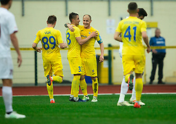 Players of Domzale celebrate after Senijad Ibričić of Domzale scored second goal during Football match between NK Domzale and NK Triglav in 26th Round of Prva liga Telekom Slovenije 2018/19, on April 10, 2019, in Sports park Domzale, Slovenia. Photo by Vid Ponikvar / Sportida