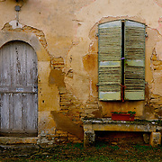 Old shutters and door in France