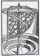 Revolving altitude instrument used by Brahe at his observatory at Stellaeburgum. From his 'Astronomiae instaurate mechanica', 1602.