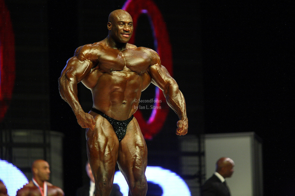 Joel Stubbs on stage at the finals for the 2009 Mr. Olympia competition in Las Vegas.