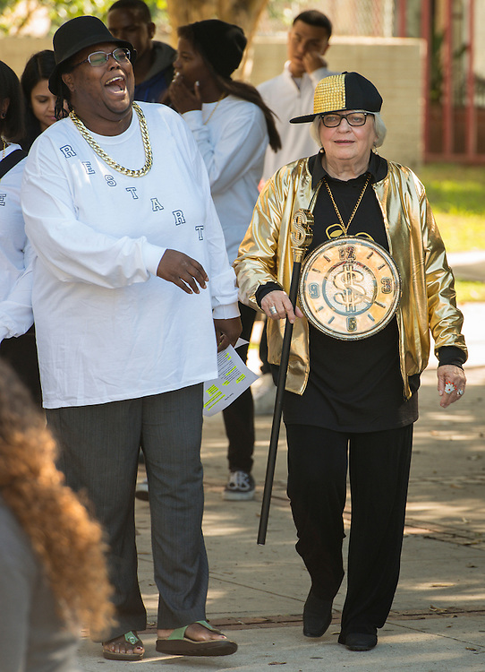 Bertie Simmons participates in a rap performance to promote PowerUp at Furr High School, September 30, 2015.