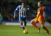 Ipswich Town striker Freddie Sears (20) and Brighton striker, Rajiv van La Parra (27) during the Sky Bet Championship match between Brighton and Hove Albion and Ipswich Town at the American Express Community Stadium, Brighton and Hove, England on 29 December 2015.