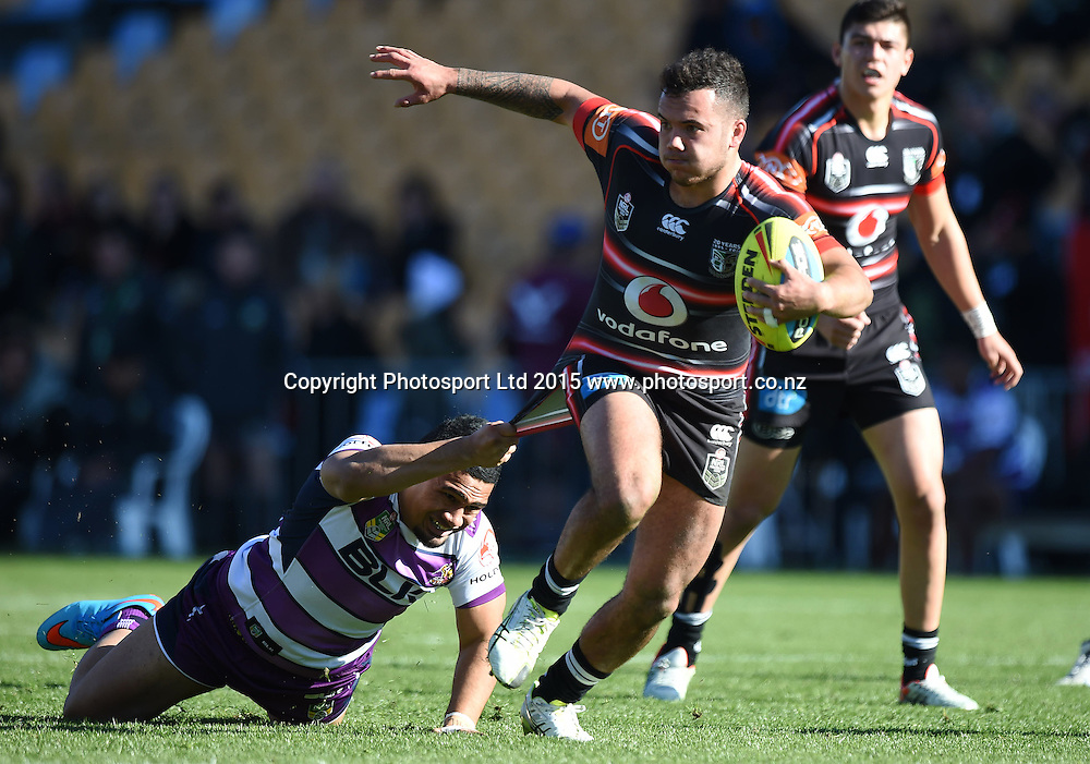 Jazz Tevaga makes a break during the Junior Warriors v Junior Storm match. NYC Holden Cup U20s Rugby League. Mt Smart Stadium, Auckland. New Zealand. Sunday 12 July 2015. Copyright Photo: Andrew Cornaga / www.Photosport.nz