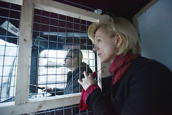 © Licensed to London News Pictures . 04/03/16 . Actress Juliet Stevenson parts of the migrant camp in Calais, known as the Jungle as French authorities continue to clear large parts of the settlement. Photo credit : Ian Homer/LNP