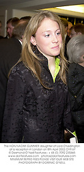 The HON.NAOMI GUMMER daughter of Lord Chadlington at a reception in London on 8th April 2002.	OYR 67