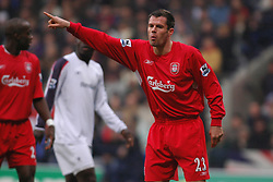 BOLTON, ENGLAND - MONDAY, JANUARY 2nd, 2006: Liverpool's Jamie Carragher in action against Bolton Wanderers during the Premiership match at the Reebok Stadium. (Pic by Dan Istitene/Propaganda)