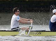 London, United Kingdom.  Saturday Morning, Oxford's Mike DI SANTO, builds a nice wall of water in front of his blade, as he applies the pressure during Oxford practice starts, Blue Boat training outing.  2014, Varsity, Tideway Week, annual training week, both crews based at Putney, Championship Course,  River Thames;   10:31:42   Saturday  05/04/2014 [Mandatory Credit; Peter SPURRIER/ Intersport Images].