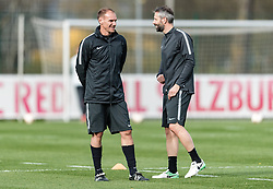 11.04.2018, Taxham, Salzburg, AUT, UEFA EL, FC Salzburg vs SS Lazio Roma, Viertelfinale, Rueckspiel, Abschlusstraining FC Salzburg, im Bild v.l. Co Trainer Alexander Zickler (FC Salzburg), Trainer Marco Rose (FC Salzburg) // f.l. #Assitant Coach Alexander Zickler (FC Salzburg) and Head Coach Marco Rose (FC Salzburg) during practice session of FC Salzburg prior to the UEFA Europa League Quarterfinals, 2nd Leg Match between FC Salzburg and SS Lazio Roma at Taxham in Salzburg, Austria on 2018/04/11. EXPA Pictures © 2018, PhotoCredit: EXPA/ Stefan Adelsberger
