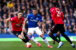Richarlison of Everton takes on Nemanja Matic and Aaron Wan-Bissaka of Manchester United - Mandatory by-line: Robbie Stephenson/JMP - 01/03/2020 - FOOTBALL - Goodison Park - Liverpool, England - Everton v Manchester United - Premier League