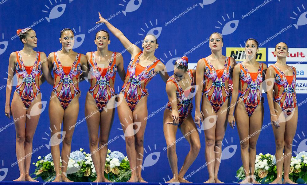 ESP - Spain<br /> BASIANA Clara CABELLO Alba<br /> CAMACHO Clara JIMENEZ Cecilia<br /> KLAMBURG Paula LEVY Sara<br /> MAS Meritxell SALVADOR Cristina<br /> Team Free Final<br /> Day8 10/07/2015<br /> XVI FINA World Championships Aquatics<br /> Synchro<br /> Kazan Tatarstan RUS July 24 - Aug. 9 2015 <br /> Photo Pasquale Mesiano/Deepbluemedia/Insidefoto
