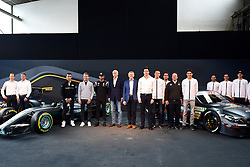 12.03.2016, Mercedes, Stuttgart, GER, FIA, Formel 1, Mercedes Motorsport Kickoff 2016, im Bild Pascal Wehrlein (GER), Nico Rosberg (GER) Mercedes AMG F1, Lewis Hamilton (GBR) Mercedes AMG F1, Dr. Dieter Zetsche (GER), CEO of Daimler AG, Thomas Weber (GER) Member of the Board of Management of Daimler AG Group Research & Mercedes-Benz Cars Development, Toto Wolff (AUT) Mercedes AMG F1 Director of Motorsport, Paul di Resta (GBR), Daniel Juncadella (ESP), Ulrich Fritz (GER) Mercedes AMG DTM Team Principal, Esteban Ocon (FRA), Gary Paffett (GBR), Maximillian Gotz (GER) and Christian Vietoris (GER) // during the Mercedes Motorsport Kickoff 2016 at the Mercedes in Stuttgart, Germany on 2016/03/12. EXPA Pictures © 2016, PhotoCredit: EXPA/ Sutton Images/ Andre/<br /> <br /> *****ATTENTION - for AUT, SLO, CRO, SRB, BIH, MAZ only*****