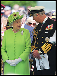 Image ©Licensed to i-Images Picture Agency. 06/06/2014. Bayeux, France. The Queen and the Prince of Wales at the service of Remembrance at the Commonwealth War Graves Cemetery in Bayeux, Normandy, France, on the 70th anniversary of D-Day.  Picture by Stephen Lock  / i-Images