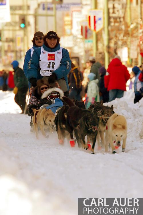 3/3/2007:  Anchorage Alaska -  Veteran John Baker of Kotzebue, AK heads out during the ceremonial start of the 35th Iditarod Sled Dog Race
