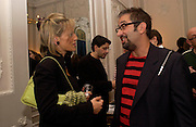 Emily Maitlis and David Baddiel, Status Anxiety by  Alain de Botton,  book launch. Foreign Press Association, Carlton House Terrace. 2 March 2004. ONE TIME USE ONLY - DO NOT ARCHIVE  © Copyright Photograph by Dafydd Jones 66 Stockwell Park Rd. London SW9 0DA Tel 020 7733 0108 www.dafjones.com