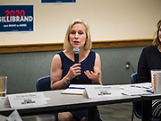 "24 MAY 2019 - WEST DES MOINES, IOWA: US Senator KIRSTEN GILLIBRAND (D-NY) chairs a community forum in the West Des Moines Public Library. Gillibrand unveiled her ""Family Bill of Rights"" during a forum in West Des Moines. The New York Senator has made family health and rights a centerpiece of her campaign. She is touring Iowa this week to support her candidacy to be the Democratic nominee for the US Presidency. Iowa traditionally hosts the the first selection event of the presidential election cycle. The Iowa Caucuses will be on Feb. 3, 2020.           PHOTO BY JACK KURTZ"