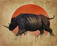 As provocative as it is emotionally devastating, this fine art piece from Jan Keteleer shows us a powerful figure indeed. We are shown the site of a rhino fleeing, although we cannot say specifically from what. However, when you combine this visual with that of the melting, rapidly disintegrating sun, it becomes clear to us what we are looking at.<br />