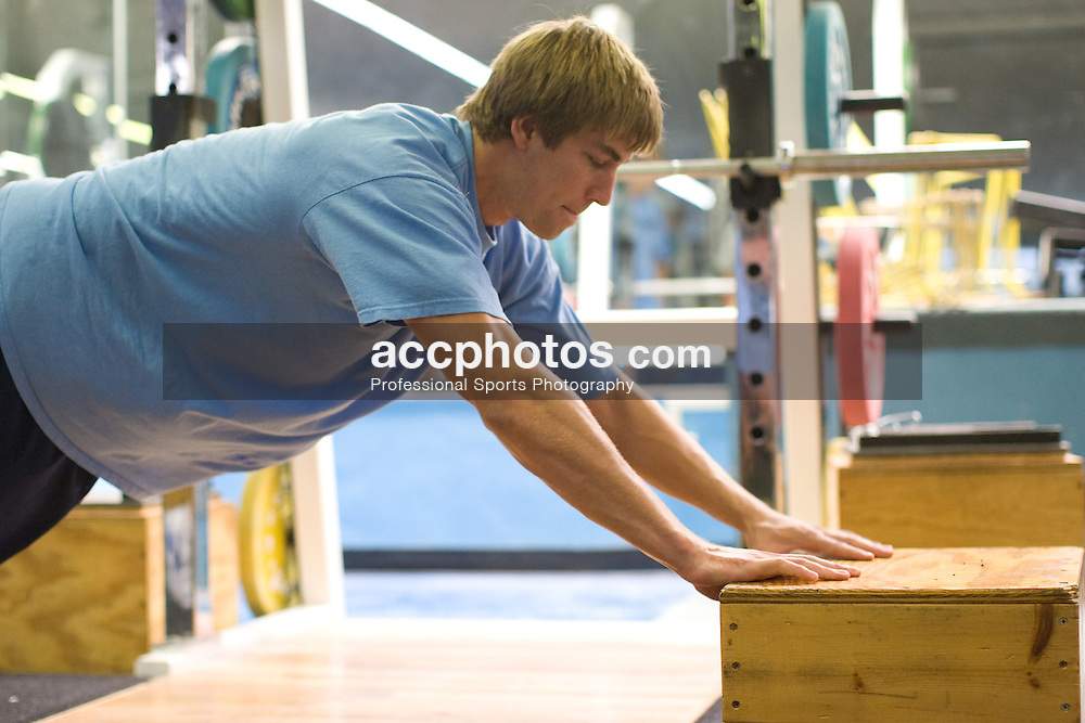 06 September 2007: North Carolina Tar Heels men's lacrosse member Ben Hunt during a weight lifting day at the Kenan Stadium Field House in Chapel Hill, NC.