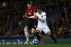 December 12, 2018 - Valencia, Spain - Phil Jones of Manchester United and Rodrigo Moreno of Valencia battle for the ball during the match between Valencia CF and Manchester United at Mestalla Stadium in Valencia, Spain on December 12, 2018. (Credit Image: © Jose Breton/NurPhoto via ZUMA Press)