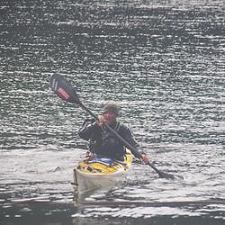 Jason Fresh from an Eskimo Roll at Smallpox Bay, San Juan Island, Washington, US