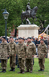© Licensed to London News Pictures. FILE PICTURE dated 28/06/2015 of Armed Forces Day Bristol, UK, on Sunday 28 June, with a parade in Queen's Square with a Drumhead Service, and the King William III pictured, Bristol, UK. A mysterious art work of yellow spikes has appeared on the statue of King William III in Bristol's Queen's Square, 01/12/2016. It is not known who has placed it there or what it means. Bristol is known for its public and street art. Photo credit : Simon Chapman/LNP