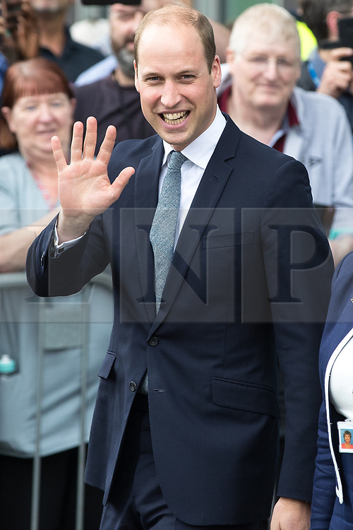 © Joel Goodman - 07973 332324 . 02/06/2017 . Manchester , UK . The Duke of Cambridge , Prince William , leaves Royal Manchester Children's Hospital after meeting patients affected by the murderous bomb attack at an Ariana Grande gig at Manchester Arena on Monday 22nd May . Photo credit : Joel Goodman